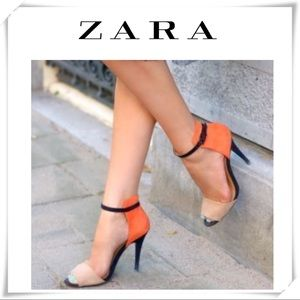 💫Zara Color block Ankle Straps Orange sandal heel